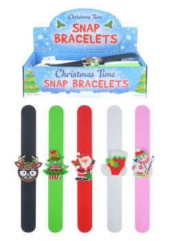 Pack of 24 Christmas Snap Bracelets with Print