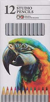 Pack Of 12 Studio Artist Sketching Pencils Draws Tones & Shades Assorted Colours