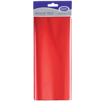 4 Sheets Red Metallic Wrap 50 x 70cm