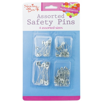 80 Safety Pins Silver Assorted Size