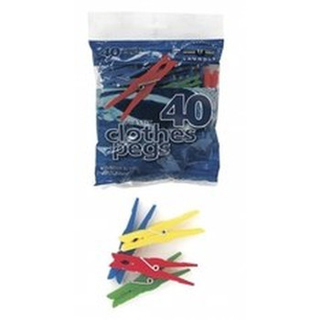30 Plastic Clothes Pegs Assorted Colours