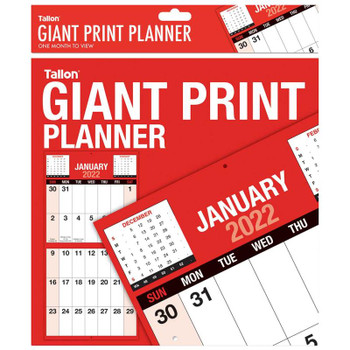 2022 Month To View Red & Black Commercial Giant Print Planner