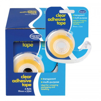 Pack of 6 Clear Adhesive Tape with Dispenser 19mmx33m