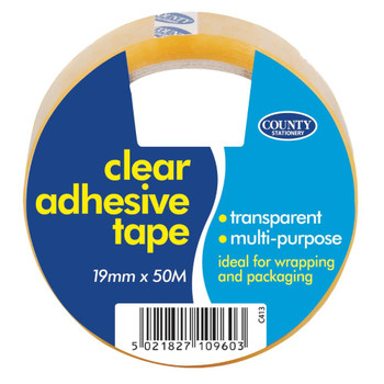 Pack of 12 Clear Adhesive Tape 19mm x 50m