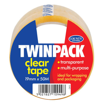 Twin Pack Adhesive Tape 19mm x 50M