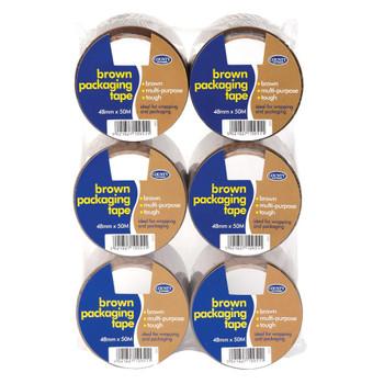 Pack of 6 Brown Packaging Tape 48mm x 50M