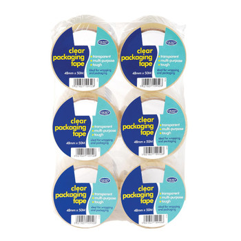 Pack of 6 Clear Packing Tape 48mm x 50M