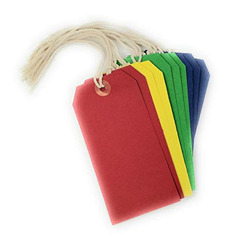 Assorted Colours Coloured Tie-On Luggage Labels 60x120 mm Strung Tags - Pack of 10
