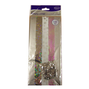 Pack of 5 Silver Coloured Luxury Christmas Gift Wraps 50 x 70cm
