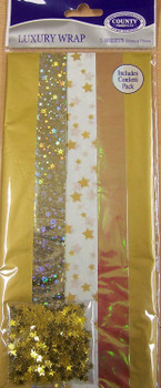 Pack of 5 Gold Coloured Luxury Christmas Gift Wraps 50 x 70cm