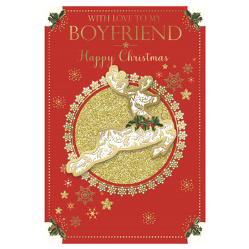 With Love To My Boyfriend Foil Finished Reindeer Christmas Card