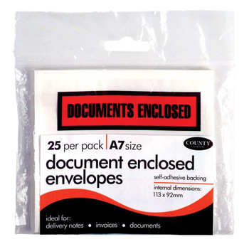 Document Enclosed Envelopes - Pack of 25 - Self Adhesive Backing - A7 Size