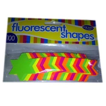 100 Pack Fluorescent Neon Stars - 42mm