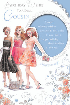 Birthday Wishes To A Dear Cousin Beautiful Ladies Design Female Celebrity Style Card