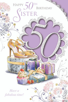 Happy 50th Birthday Sister Celebrity Style Card