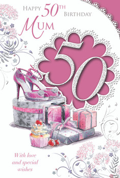 Happy 50th Birthday Mum With Love And Special Wishes Celebrity Style Card