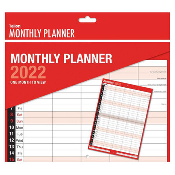 2022 Five Column Month To View Red & Black Commercial Planner
