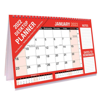 2022 Month To View Red & Black Commercial Desktop Planner