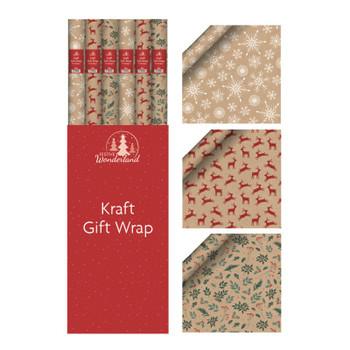 Printed Kraft Wrap 3mx70cm Christmas Designs