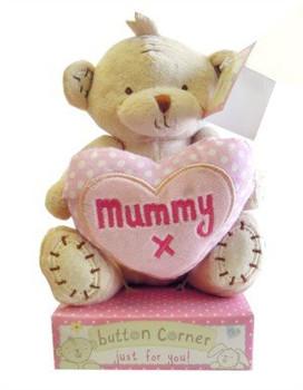 Mummy Button Corner Bear with Heart