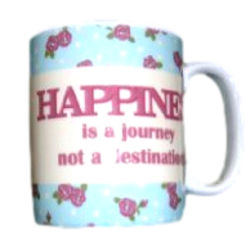 language of life mug happiness is a journey not a destination