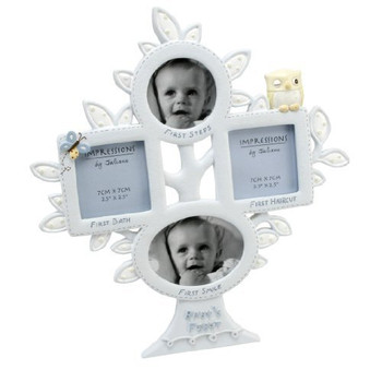 Baby Owl Series Baby's First Moments Multi Photo Frame in Blue Holds 4 Pictures