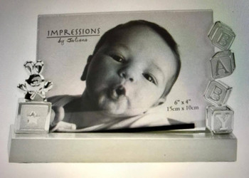 """Impressions by Juliana Silver Plated 6"""" x 4"""" Glass Panel Baby Photo Frame"""