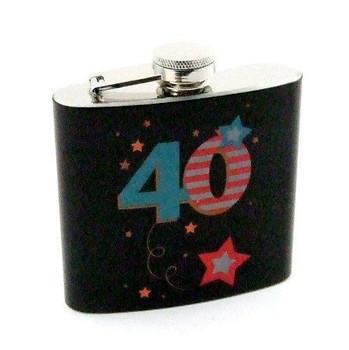 Black 40th Birthday Hip Flask