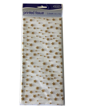 Printed Patterned Tissue Wrapping Paper gold stars on white luxury 5 sheets