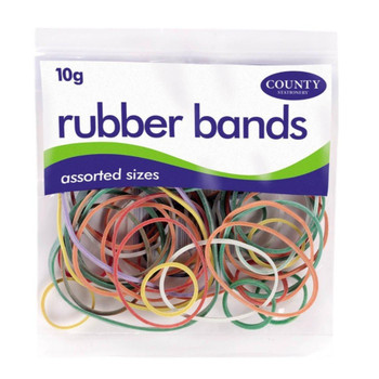 Packets Rubber Bands Assorted Sizes [coloured 10gsm]