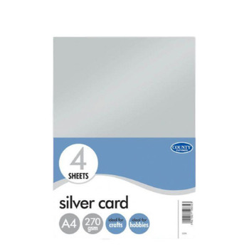 Pack of 4 A4 Silver Card Sheets