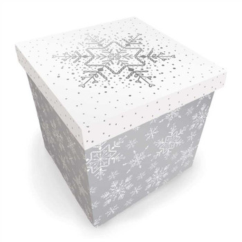Silver and White Snowflake Design Medium Square Flat Pack Christmas Gift Box