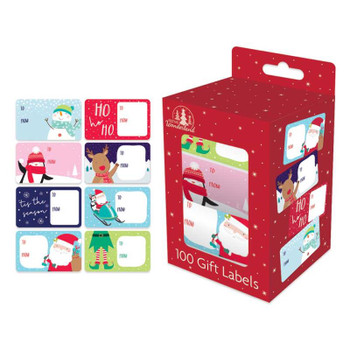 Box of 100 Cute Design Christmas Gift Labels