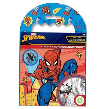 Superhero Spiderman Carry Along Colouring Set