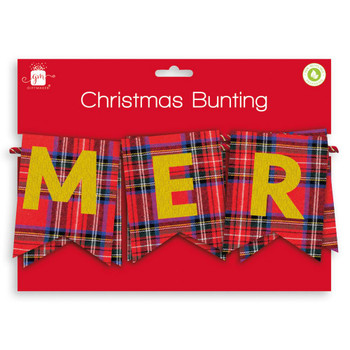 Tatrtan Design Merry Christmas Fabric Bunting