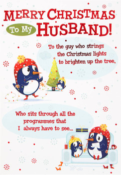 Husband 'The Guy Who…' Christmas Card Red Foil Finish
