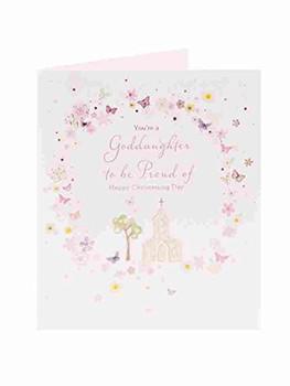 Goddaughter Christening Pink Card