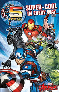 6 x Avengers Age 5 Birthday Cards with Badges