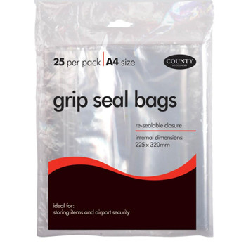 Pack of 25 A4 County Grip Seal Bags