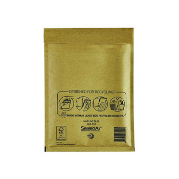 Pack of 100 180x260mm Gold Mail Lite Bubble Lined Postal Bags Size D/1