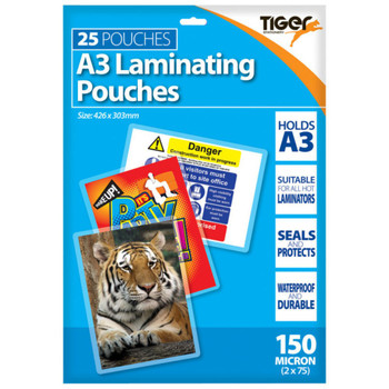 Pack of 25 A3 150micron Laminating Pouches