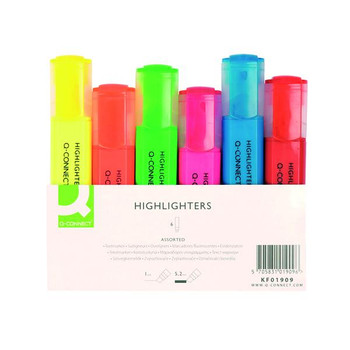 Pack of 6 Q-Connect Assorted Highlighter Pens
