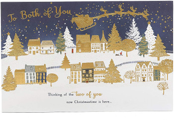 To Both of You Gold Foil Finished Contemporary Christmas Card