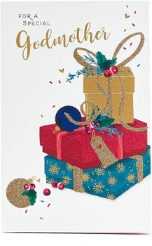 For a Special Godmother Stack of Glitter Presents Design Christmas Card