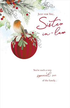 Just For You Sister In Law Robin on a Bauble Design Christmas Card