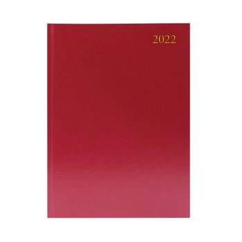2022 A4 2 Pages Per Day Burgundy Desk Diary