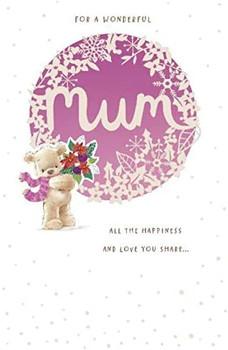 Teddy Bear Holding Bouquet Design Mum Christmas Card
