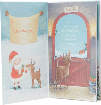 Brilliant Grandson Storybook About Rudolph and Santa Design Christmas Card