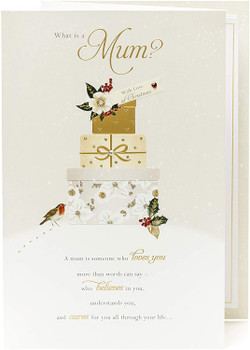 For Mum Heartfelt Message and Sparkling Gifts Design Christmas Card