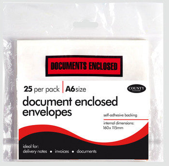 Pack of 25 A6 Document Enclosed Envelopes